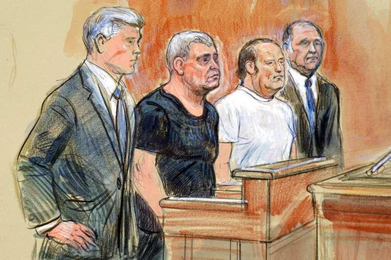 帕爾納斯(Lev Parnas)與佛魯曼(Igor Fruman)在法庭上的素描。(美聯社)