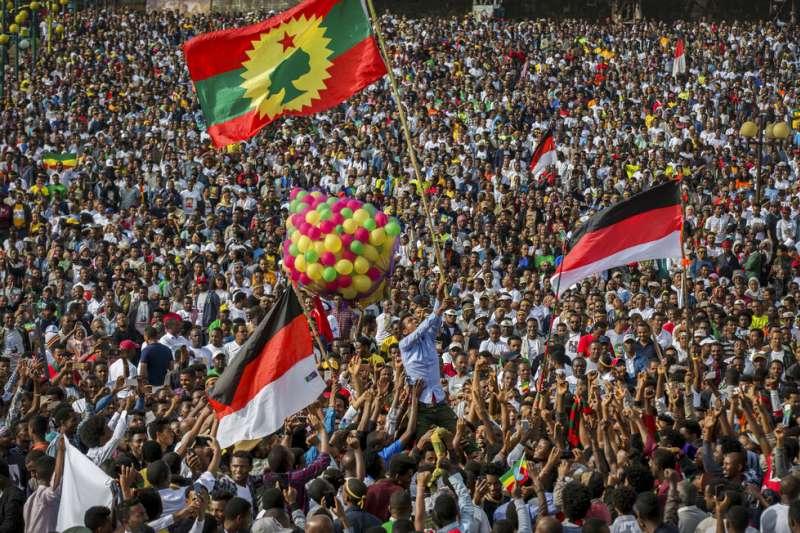 2018年6月衣索比亞支持總理阿比的集會活動。(AP)