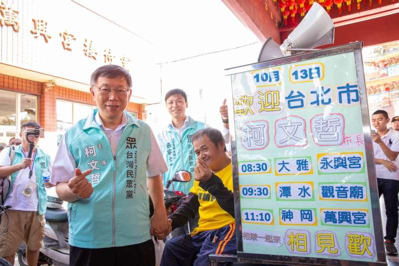 台灣民眾黨主席柯文哲(見圖)13日到台中第三選區拜票。(取自柯粉俱樂部)