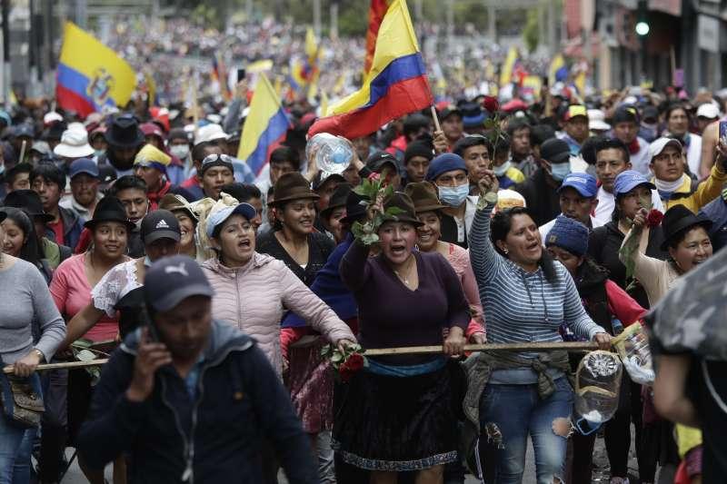厄瓜多反撙節示威(AP)