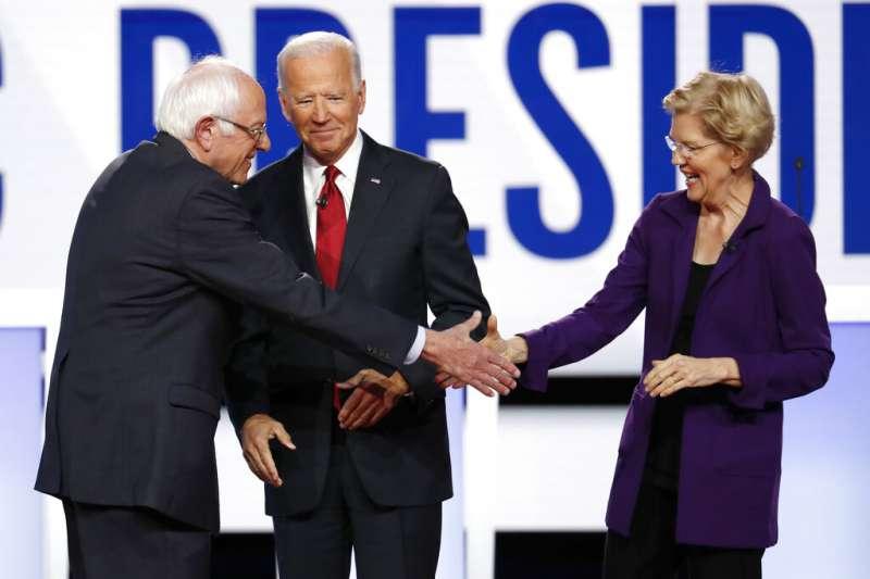 美國民主黨總統參選人桑德斯、拜登、華倫。(AP)
