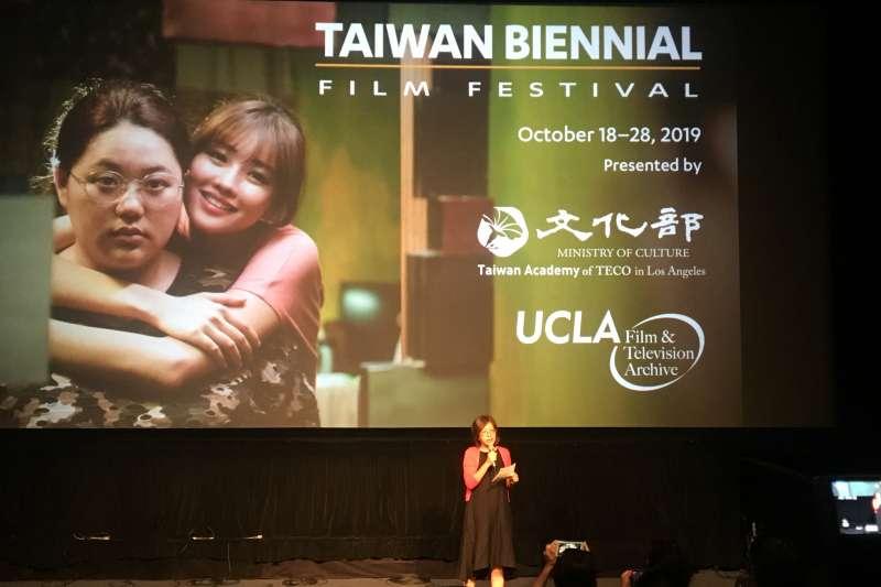 台灣書院主任楊婷媜於記者會公布本屆台灣電影雙年展放映影片。(文化部提供)