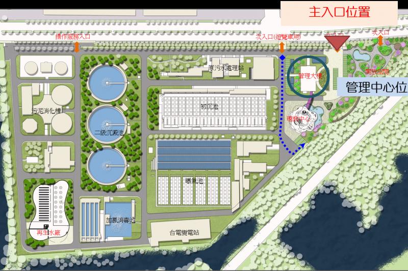 安平再生水廠全區配置圖。(圖/臺南市政府提供)