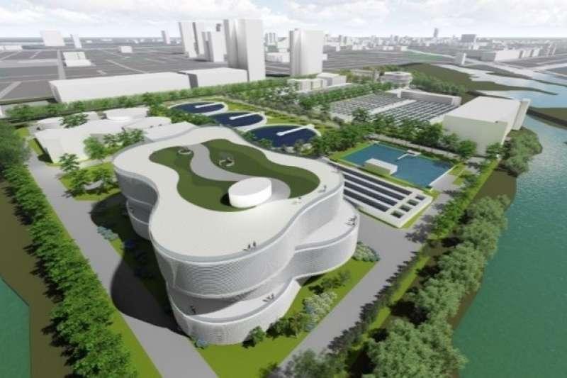 安平再生水廠全區模擬空拍圖。(圖/臺南市政府提供)