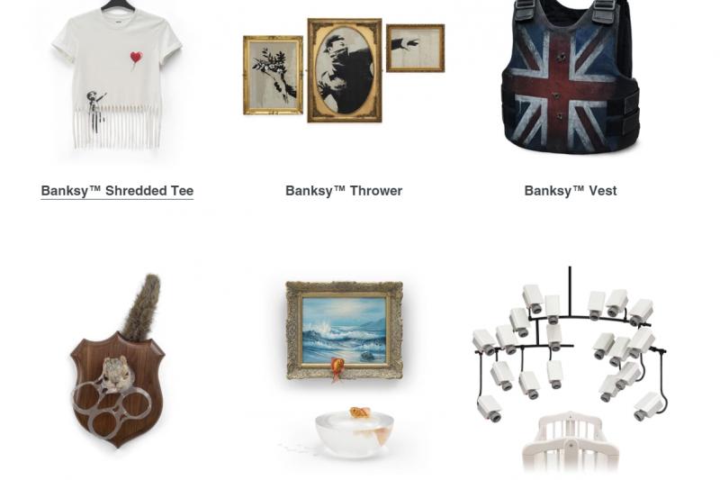 英國塗鴉大師班克西(Banksy)首次開了網路商店,販賣的商品充滿惡趣味。(圖/取自grossdomesticproduct官網)