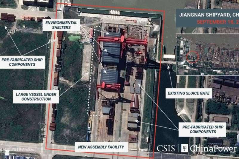 2019年9月18日的衛星圖像顯示上海江南造船廠正在建造中國第一艘全尺寸航空母艦。(美聯社)