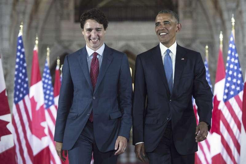 2019年10月,加拿大總統杜魯道(Justin Trudeau)爭取連任,卻陷入苦戰,請來美國前總統歐巴馬助陣(AP)