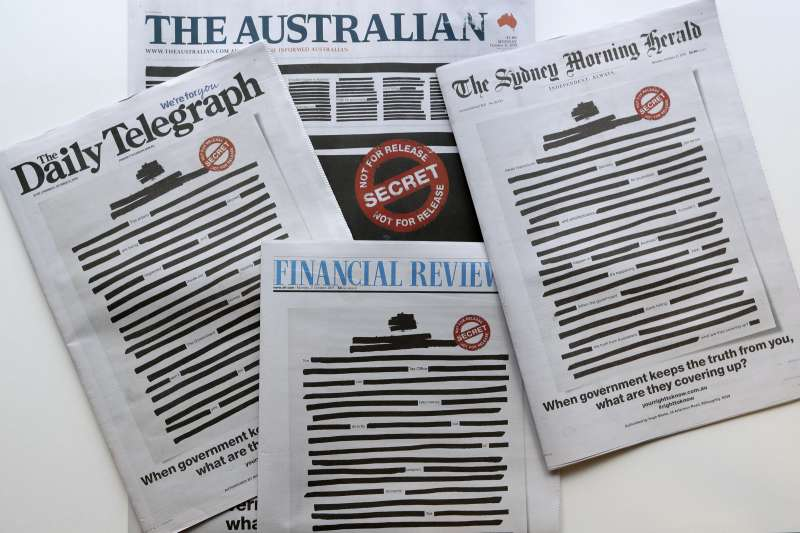 澳洲報紙21日頭版「抹黑」抗議政府侵害新聞自由(AP)