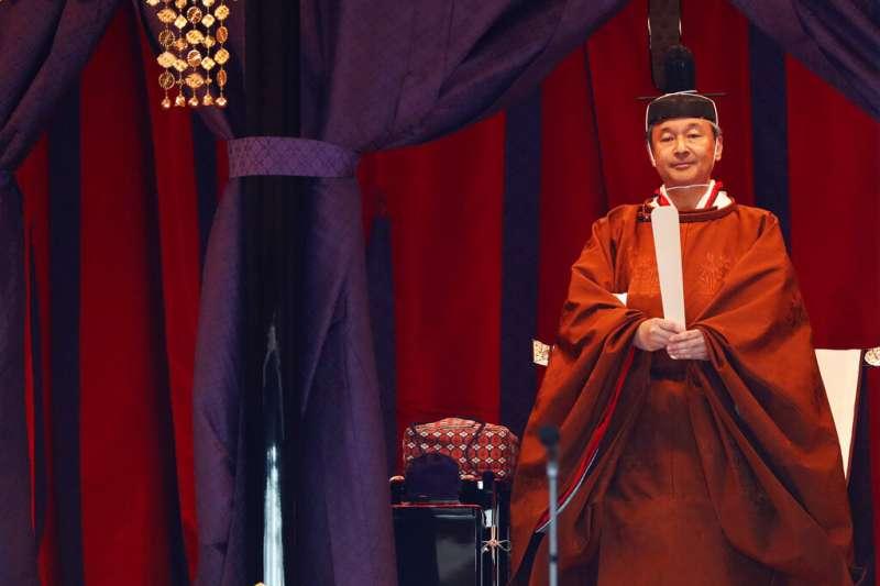 10月22日「即位禮正殿之儀」上的日本德仁天皇。(美聯社)