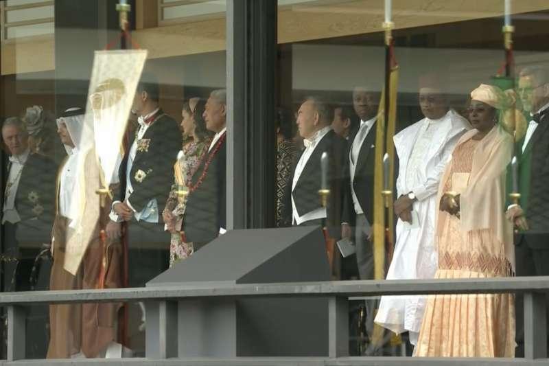 在德仁即位禮正殿之儀觀禮的貴賓。(翻攝Youtube)