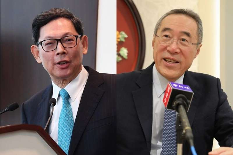 前香港金融管理局總裁陳德霖(左)與前香港財政司及政務司司長唐英年(右)。(中新社)