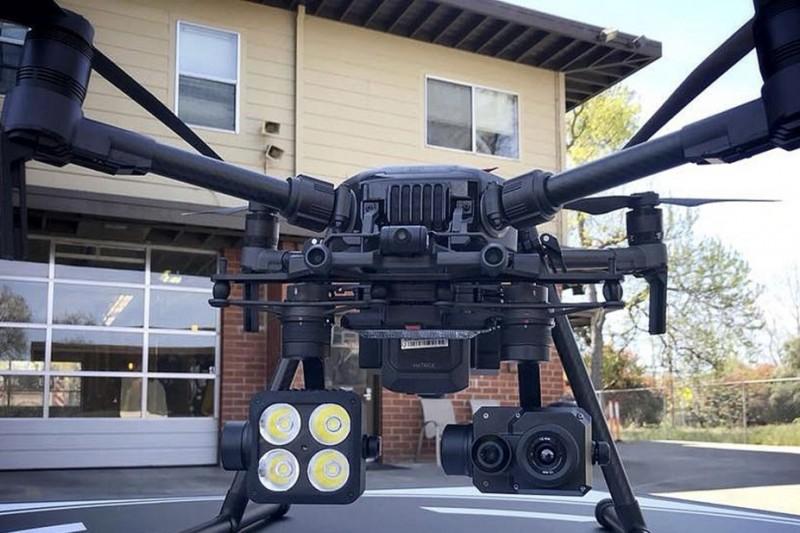 配備熱成像攝影機的中國大疆無人機。(美聯社)