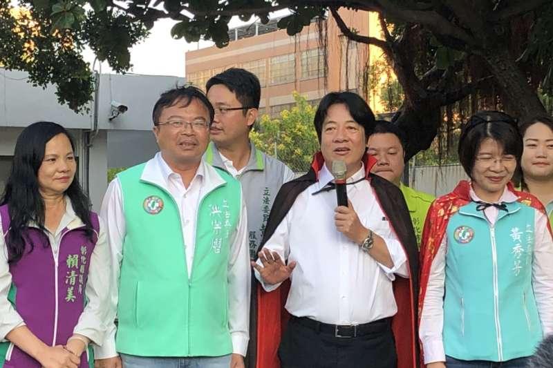前行政院長賴清德(右二)自美返台後,27日赴彰化為民進黨立委黃秀芳輔選。(資料照,賴清德辦公室提供)