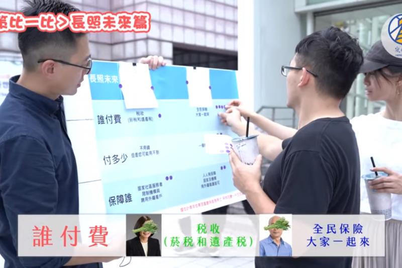 國民黨青年部副主任詹為元拍攝影片,做了長照政策「政策盲測」街訪測試。(取自Youtube「政治衝蝦咪」影片截圖)