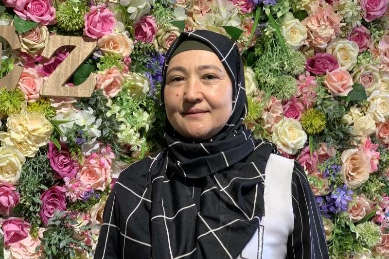 再教育營受害者:哈薩克維吾爾人古力巴哈希望台灣為維吾爾人發聲(簡恒宇攝)