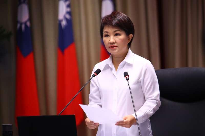 台中市長盧秀燕(見圖)29日於市政會議上,呼籲台電身為國營事業應以身作則。(台中市政府提供)
