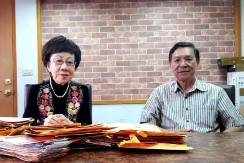 呂秀蓮(左)、彭百顯(右)宣布退選。(資料照,擷取自呂秀蓮臉書直播)