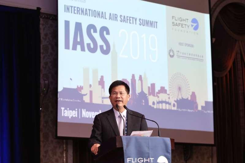 世界飛安高峰會4日於台北文華東方飯店揭開序幕,交通部長林佳龍(見圖)以主辦國代表蒞臨致詞。(航發會提供)