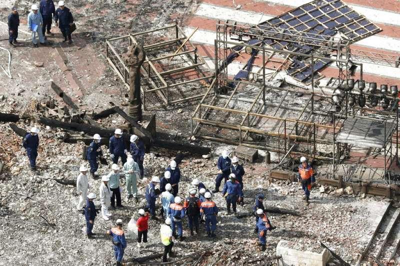 沖繩的首里城遭到大火意外焚毀。(美聯社)
