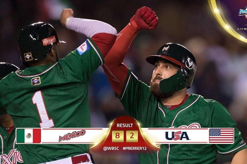墨西哥在世界12強A組預賽爆冷擊敗美國,率先晉級到東京複賽。 (截圖自WBSC推特)