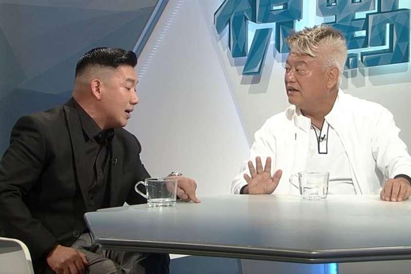 香港藝人杜汶澤(左)和陳百祥(右)在電視節目中公開辯論「反送中」。(翻攝facebook.com/rthk31thisweek)