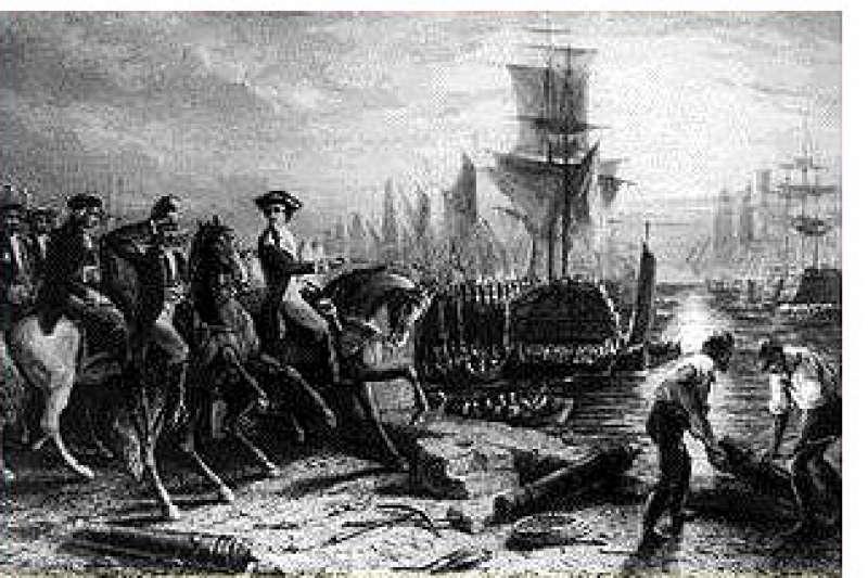 經歷11個月的圍城之後,華盛頓領導的軍隊迫使英國人由海路撤退。(取自維基百科公有領域)