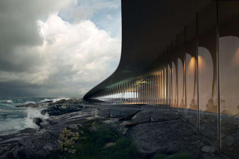 建築物被當作自然景點的延伸,遊客可以在此一邊喝咖啡一邊欣賞壯麗的自然風光。(圖/瘋設計)