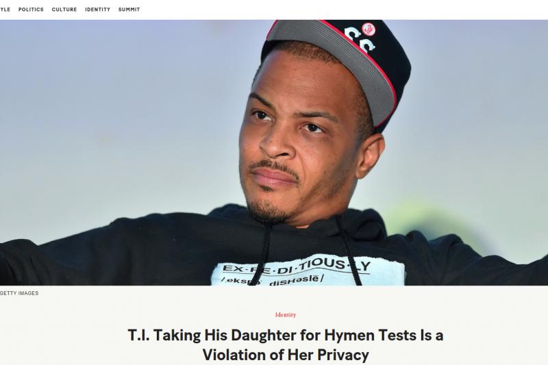 美國饒舌歌手T.I.自爆每年帶女兒去驗處女膜,遭媒體、婦科醫生與網友狂剿。(節自網路)