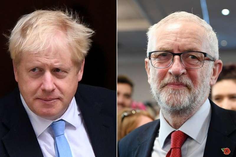 英國包括執政黨保守黨領袖強森(左)和在野最大黨工黨領袖柯賓(右)等各黨領袖都在周三正式開始競選活動。(BBC中文網)