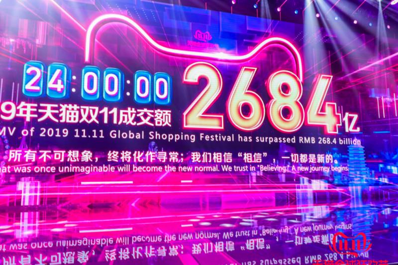 20191112「2019天貓雙11全球狂歡節」全天總成交額達到人民幣2684億元(阿里巴巴提供)