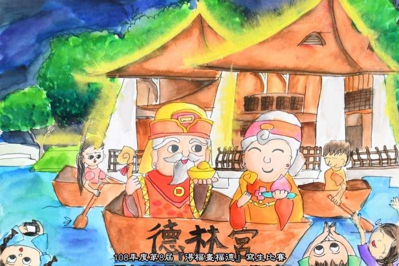 沙鹿德林宮今年第八年辦理寫生比賽,作品結合台灣燈會跟土地公信仰。(圖/台中市府教育局提供)