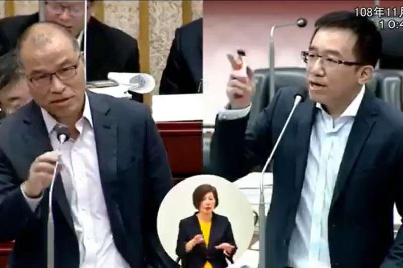 民進黨高雄市議員陳致中(右)13日質詢時質疑高雄市長韓國瑜的「還債神招」是什麼?對此,高雄副市長葉匡時(左)回應「不知道」。(取自陳致中臉書)