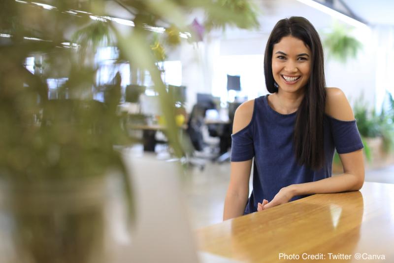 澳洲創業家Melanie Perkins的公司Canva,已成為澳洲最大的獨角獸之一(圖取自Twitter)