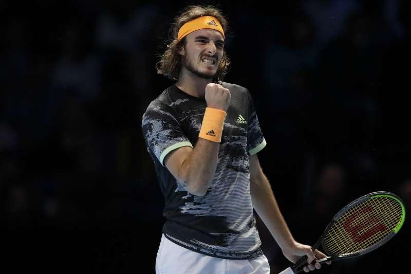 確定晉級ATP年終賽4強的希臘好手西西帕斯,下一戰將面對西班牙名將納達爾。 (美聯社)