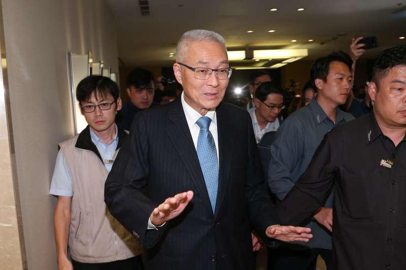 20191114-國民黨主席吳敦義14日針對明日召開臨時中常會,調整不分區立委名單,接受媒體提問。(顏麟宇攝)