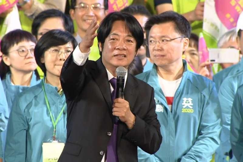 2019年11月16日,蔡英文總統高雄市競選總部成立,前行政院長賴清德上台力挺(蔡英文FB)