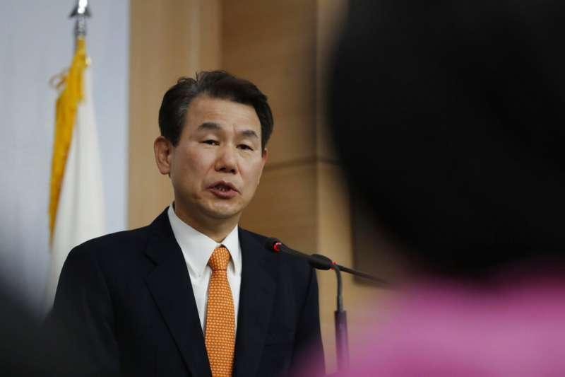 美韓防衛費用分擔特別協定(SMA)第三輪談判的韓方首席代表鄭恩甫。(美聯社)