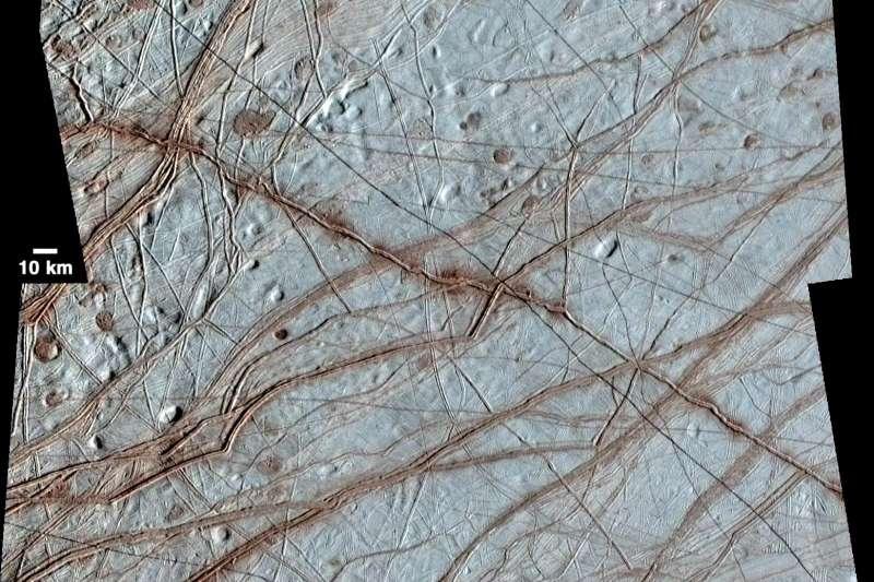 木星衛星「木衛二」(Europa,歐羅巴)地表(NASA)