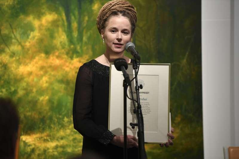 2019圖霍夫斯基獎:瑞典文化部長林德出席頒獎典禮,獲獎人是遭中國關押的瑞典公民桂民海(AP)