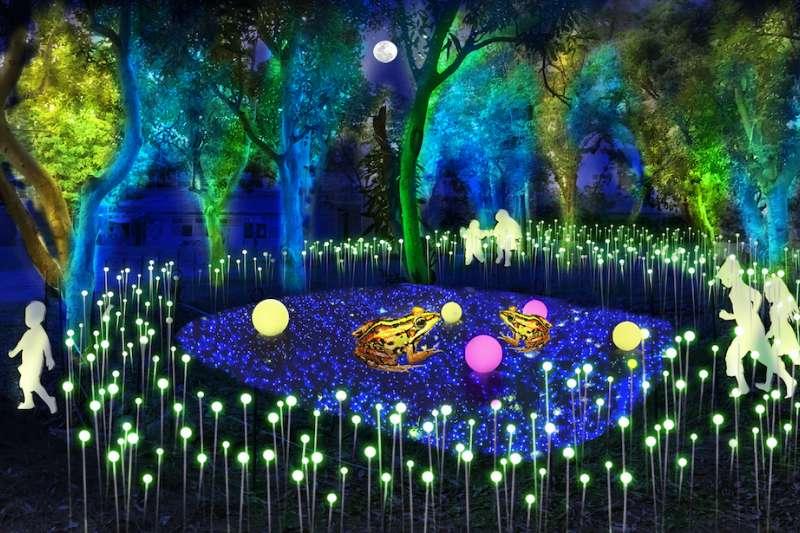 里山禾樂燈區中規劃的光環境-夏至池畔的螢火蟲森林。(圖/台中市府農業局提供)