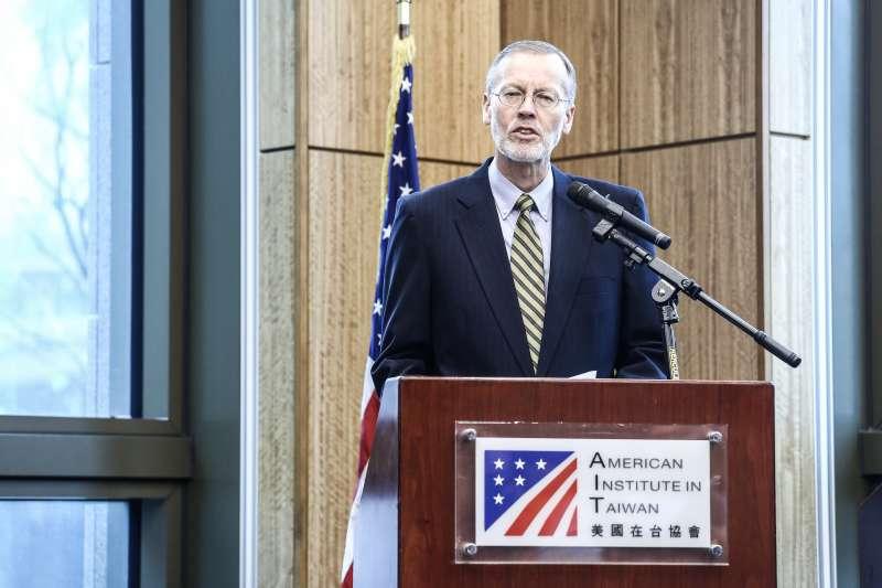 20191122-美國在台協會處長酈英傑年度媒體見面會,發表短講並開放現場媒體進行問答。(陳品佑攝)