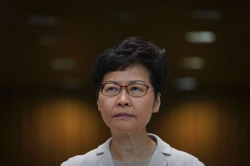 香港特首林鄭月娥26日召開記者會。(美聯社)