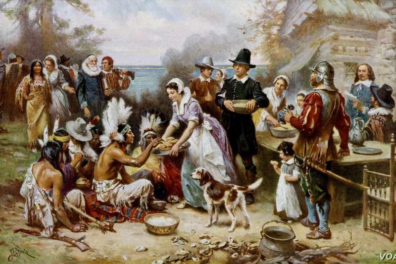 感恩節原是感謝過去印第安人對清教徒的救助及友誼,後來清教徒卻恩將仇報,大量屠殺印地安人。(圖/維基百科)