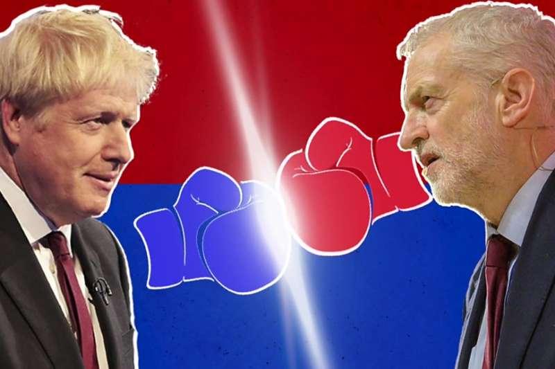 英國大選:保守黨的強森(左)與工黨黨魁柯賓爭奪首相大位。(BBC中文網)