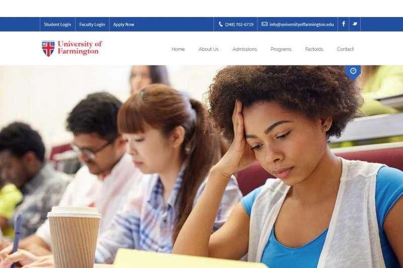 美國移民及海關執法局2015年於密西根州虛設的「法明頓大學」。(取自法明頓大學網站)