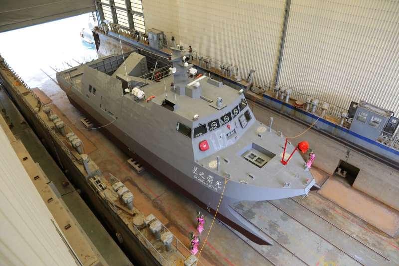 「光榮之星」是中科院用於射控系統、飛彈的海上測試載台,於2019年3月舉行下水典禮,下半年起已陸續展開各項測試工作。(取自中科院官網)