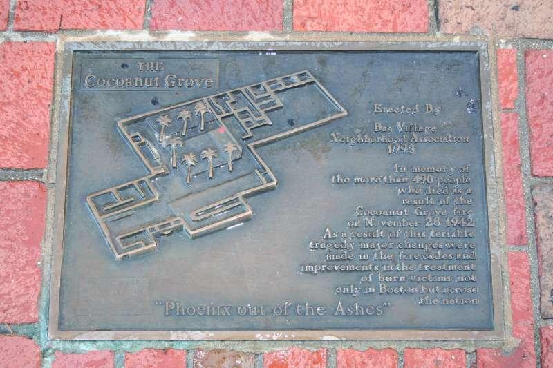 1942年,波士頓一家名為椰林的夜總會發生大火,造成492人死亡,倖存者或家屬必須有勇氣辨識出往後日子需要改變之處,並因應新情勢,這是個人危機與國家危機的共通點。圖為火場附近人行道上的紀念牌。(資料照,取自維基百科)
