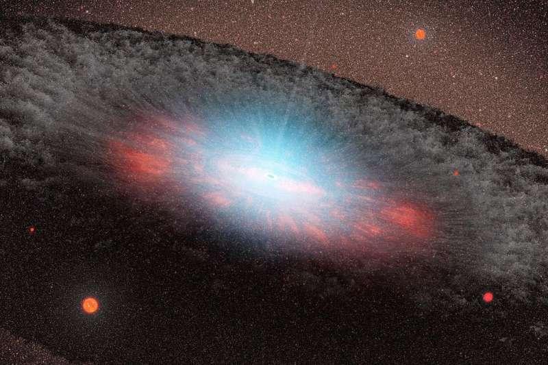 NASA示意圖描繪超大質量黑洞及其周遭吸積盤。(取自維基百科公有領域)