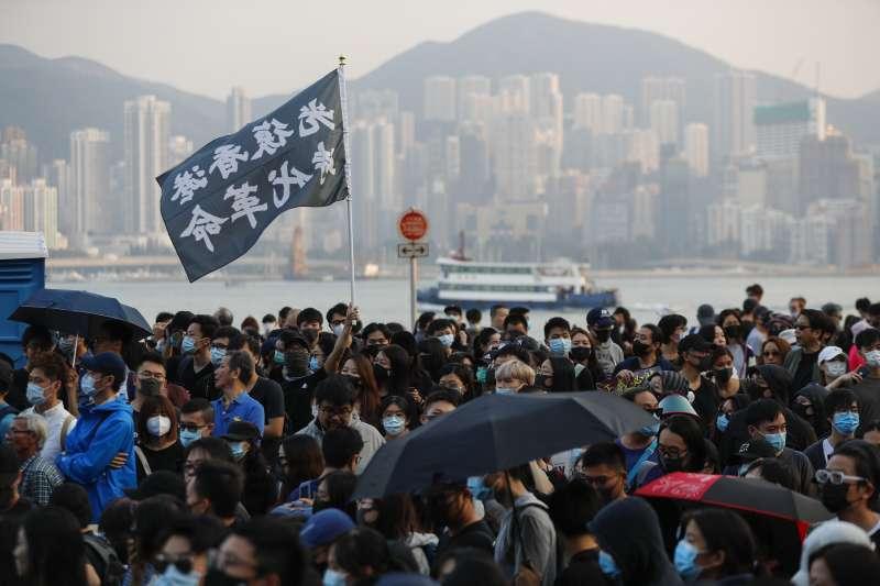 2019年12月1日,香港群眾在區議會選舉後首個周日上街示威(AP)
