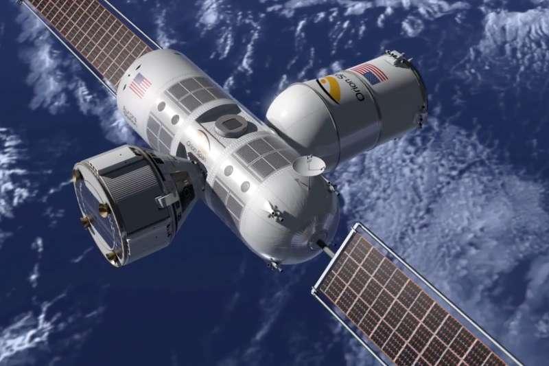 Orion Span創辦人邦格表示,2024年前打算帶第一批遊客進住該公司的太空旅館Aurora Station。圖為該計畫模擬圖。(翻攝OrionSpanInc臉書)